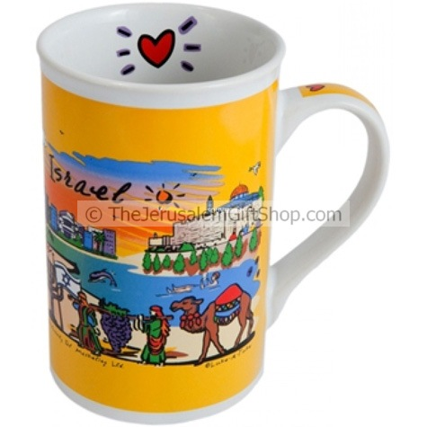 Bright and cheerful souvenir mug featuring Israeli tourist attractions including Jerusalem, Tel-Aviv and Eilat. Size: 4.8 inches / 12 cmhigh. Shipped to you direct fromthe Holy Land. #mug