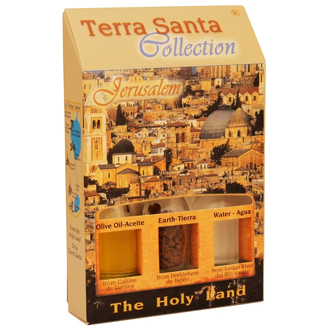 The Terra Santa Collection Holy Land Gift Pack - Jerusalem Old City - Direct from the land where Jesus walked. The unique keepsake from the Terra Santa Collection brought to you from the birthplace of Christianity. Gift pack contains: Galilee Olive Oil.Ea #gift