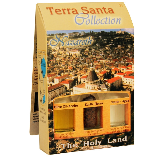The Terra Santa Collection Holy Land Gift Pack - Nazareth Church of the Annunciation - Direct from the land where Jesus walked. The unique keepsake from the Terra Santa Collection brought to you from the birthplace of Christianity. Gift pack contains: Gal #gift