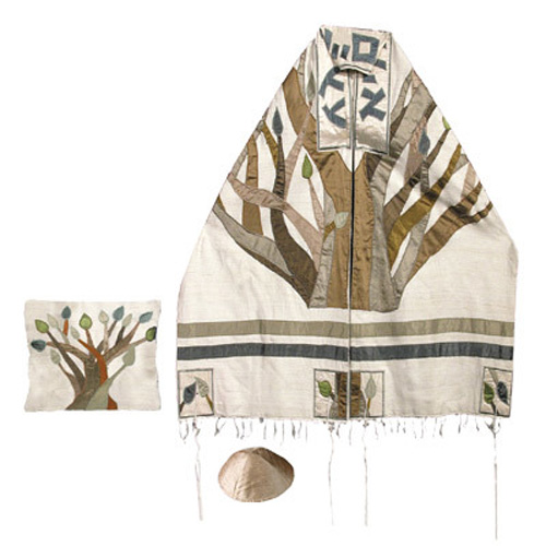 Absolutely stunning Emanuel tallit set with an embroidered Etz Chaim (Tree of Life) design. Handwoven raw silk.This tallit (Prayer shawl) comes with a matching bag and kippah.. The stripes, atarah (neckband), corners and tree motif are constructed of raw #silk