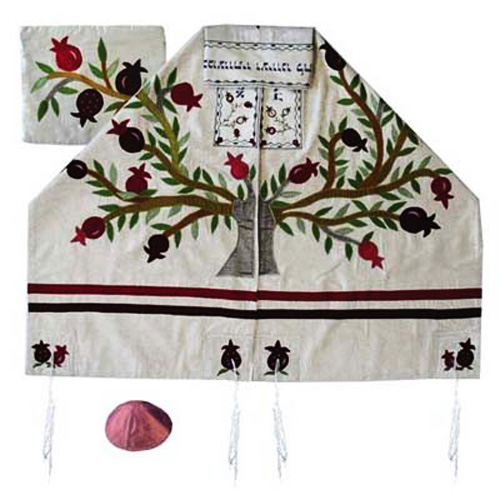 Absolutely stunning Emanuel tallit (prayer shawl) set with an embroidered Etz Chaim (Tree of Life) featuring a pomegranate design. Handwoven raw silk.This tallit (Prayer shawl) comes with a matching bag and kippah.. The stripes, atarah (neckband), corners #silk