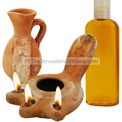 Messianic Clay Oil Lamp Jug and Oil - Triple Head