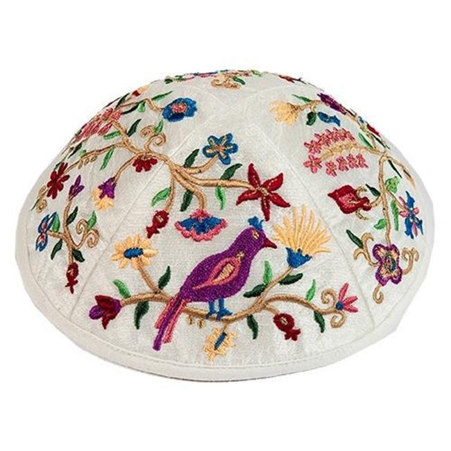 Beautifully biblical artistic design from renowned Israeli artist Yair Emanuel - Embroidered silk featuring birds perched in pomegranate tress and flowers have gone into this unique kippa / Yarmulke. Israeli design.Diameter: 19 cm / 7.4 Raw Silk on cotton #silk