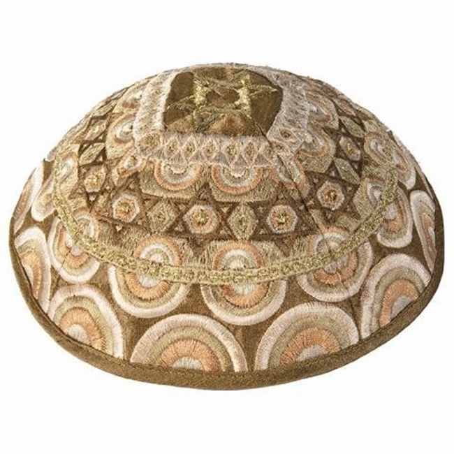 Stunning design from renowned Israeli artist Yair Emanuel - Beautifully embroidered 'Star of David' Kippa / Yarmulke featuring dazzling gold colors. Israeli Made.Diameter: 19 cm/ 7.4 .Raw Silk on cotton.Color: Gold. Kippah shipped to you direct from the H #silk
