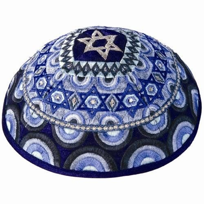 Dazzling design from renowned Israeli artist Yair Emanuel - Beautiful 'Star of David' Kippa / Yarmulke featuring bold blue colors. Israeli Made.Diameter: 19 cm/ 7.4 .Raw Silk on cotton.Color: Blue. Kippah shipped to you direct from the Holy Land. Yair Ema #silk