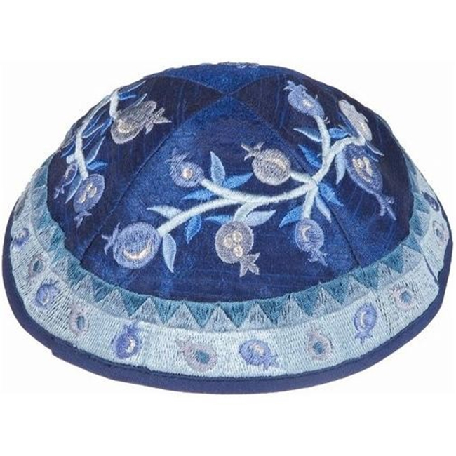 Beautifully biblical artistic design from renowned Israeli artist Yair Emanuel - Embroidered silk featuring pomegranates on shades of blue base have gone into this unique kippa / Yarmulke. Israeli design.Diameter: 19 cm / 7.4 Raw Silk on cotton. A bell an #silk