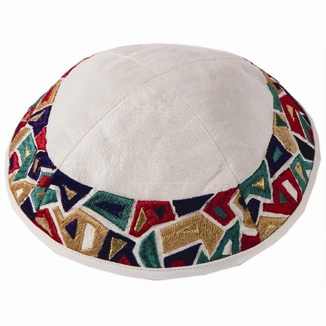Dazzling modern artistic design from renowned Israeli artist Yair Emanuel - Embroidered silk pattern of geometrical random mosaic blocks are featured on this bold kippa / Yarmulke. Israeli design.Diameter: 20 cm/ 7.8 Raw Silk on cotton. Yair Emanuel, a gr #silk